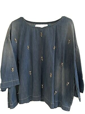 AU35 • Buy Sass And Bide 'Kiss The Sky' Denim Top Size 12-14