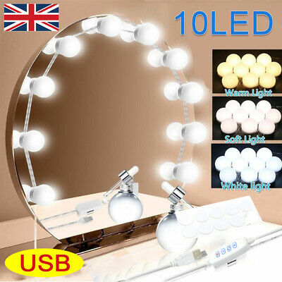 Hollywood LED Vanity Mirror Lights Kit 10 Dimmable Bulbs For Makeup Dressing UK • 9.99£