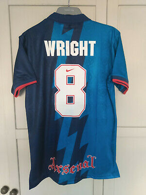 Wright Arsenal 1995 1996 Away Football Shirt Blue Zigzag Jvc Holland Size Med • 5.50£