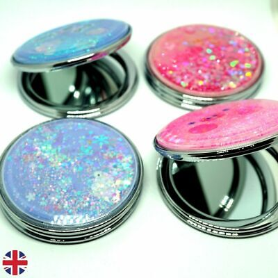 £3.99 • Buy Glittery Small Compact Folding Mirror Magnifying Pink Purple Multi-Design Pouch
