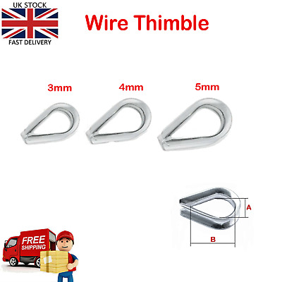 £3.25 • Buy Wire Clamps Rope Cable Thimble Marine Grade A4 316 Stainless Steel