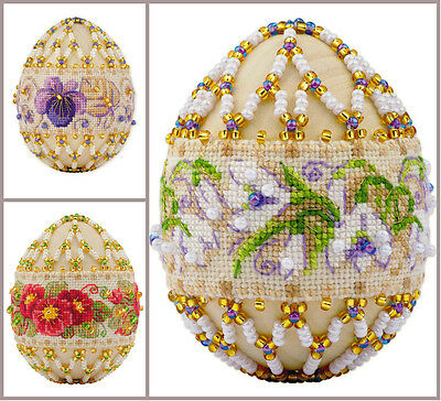 NEW UNOPENED Russian Counted Cross Stitch Beadwork KIT Riolis Easter Egg FLOWER • 16.59£