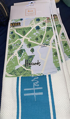 £8 • Buy HARRODS SET Of TWO COTTON TEA TOWELS LONDON GUIDE, TOOTING, CLAPHAM, GREEN NEW
