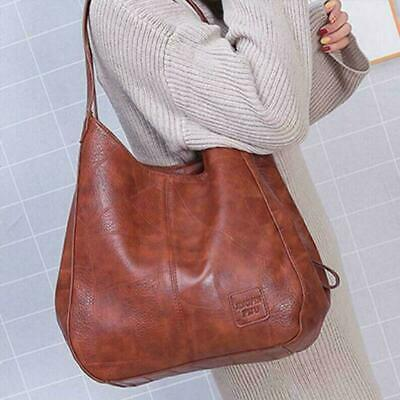 Womens Shoulder Brown Tote Bag Genuine Leather Travel Handbag Large Ladies Purse • 12.99£