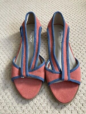 £15 • Buy Vintage F-TROUPE Red Cotton Twill Summer Sandals Size 4 UK/ EU 37