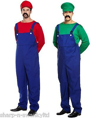 AU65.12 • Buy Mens Adult Super Mario AND Luigi Plumber 80s Couples Fancy Dress Costumes Outfit