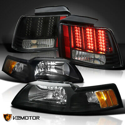 $192.01 • Buy Fit Black 99-04 Mustang Cobra Headlights+Sequential Signal LED Tail Brake Lights