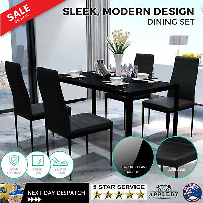 AU228.70 • Buy 5 Pcs Modern Dining Table And Chairs Set Glass Top 4 Seater Faux Leather Seat