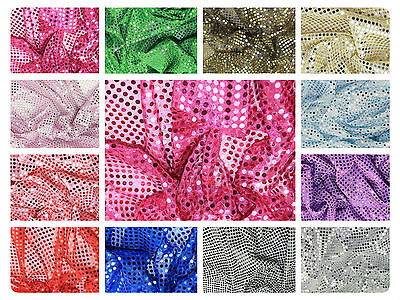 £0.99 • Buy Sequin Fabric - Shiny Sparkly Material - 44  (112cm) Wide - 6mm & 3mm