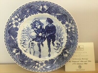£7.90 • Buy Wedgwood Blue And White Collection Queens Ware A Christmas Morning Plate 1995