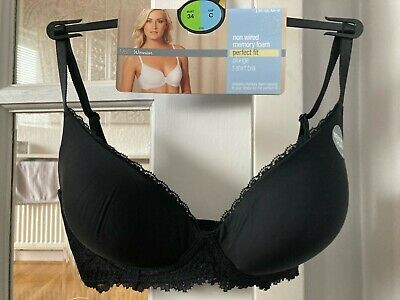 £18 • Buy BNWT M&S Padded Non Wired Black Memory Foam Perfect Fit Plunge T-shirt Bra