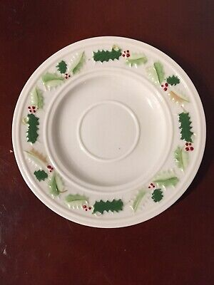 £12.04 • Buy Antique Belleek Pottery (Ireland) Holly Painted Saucer