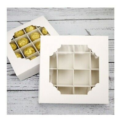 £12.50 • Buy 12 X  Empty White Sweet Boxes With Acetate Window And Inserts