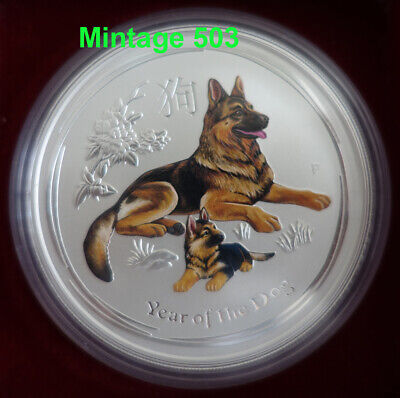 AU443.65 • Buy 5 Oz Colorized Lunar II Silver Coin 2018 Year Of The Dog   Very Rare