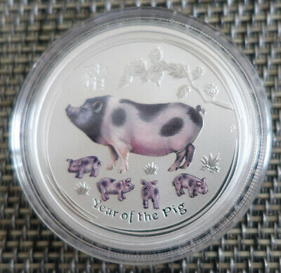 AU443.65 • Buy 5 Oz Colorized Lunar II Silver Coin 2019 Year Of The Pig   Very Rare