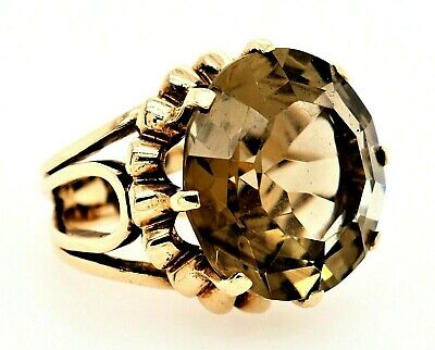 AU1313.40 • Buy Smoky Quartz Dress Ring 9ct Yellow Gold Fine Statement Jewellery Band Size M 1/2