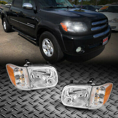 $123.23 • Buy For 05 06 Toyota Tundra 05-07 Sequoia Double Cab Headlights Corner Lamps Chorme