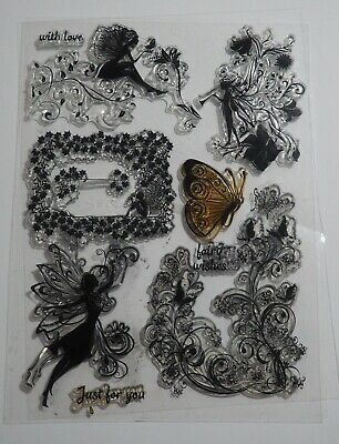 £3.99 • Buy Fairies Clear Stamp Set - Fairy, Butterfly, Words, Flowers