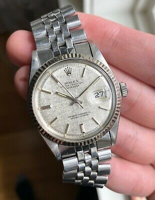 $ CDN6923.66 • Buy Vintage Rolex Datejust 1601 70s Automatic Silver Linen Dial Oyster Case Watch