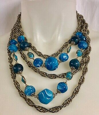 $ CDN12.49 • Buy Vintage 1950s 60s Silver Tone Multi Chain Marbled Blue Nuggets Necklace