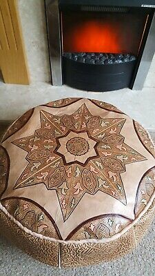 Moroccan Real Leather Pouffe, Ready Stuffed, Neutral Tones Of Rich Browns • 55£