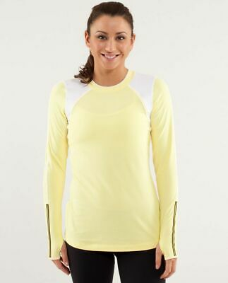 $ CDN54.58 • Buy Lululemon Run Layer Me Long Sleeve Top 12 Mellow Lemon White Running Thumbhole