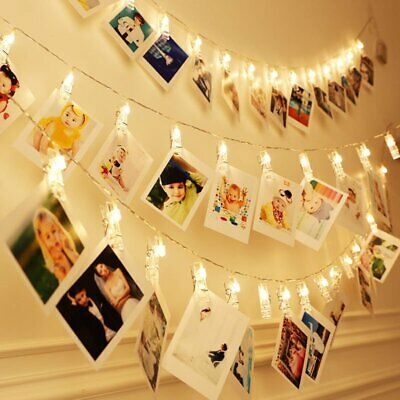 £6.99 • Buy 10-50 LED Hanging Picture Photo Peg Clip Battery Fairy String Lights Xmas Decor