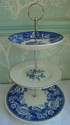 3 Tier Cake Stand Mismatched Blue & White Floral Transfer Ware Etc • 8.99£