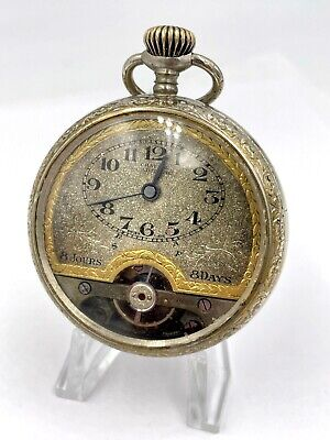 AU843.66 • Buy Solomax Chateau Cadillac 8 Day Pocket Watch Openscape Engraved Case Rare