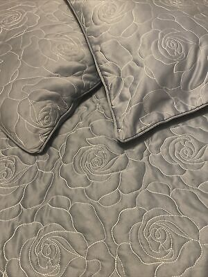 £15 • Buy Dunelm Mill Duck Egg Blue Bed Floral Throw Cover Blanket & 2 Cushion Covers -New