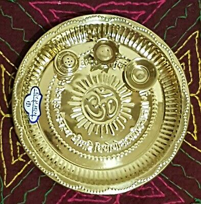 £15.99 • Buy PURE Brass 25 CM Indian Pooja Thali 4 PCS Home Decorative Temple Religious Plate