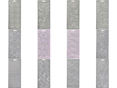 £1.99 • Buy Silver Assorted Designs Self Adhesive Peel Off Stickers Sheet Card Decor Crafts