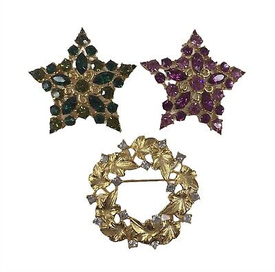$29.99 • Buy M Jent Signed Gold Tone And Rhinestone Pins/Brooches Lot Of 3