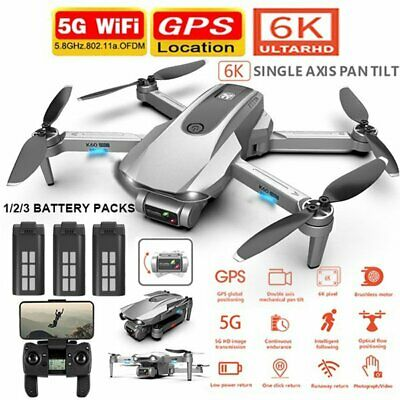 AU177.69 • Buy 5G Drones X Pro With 6K HD Dual Camera GPS Wifi FPV RC Quadcopter Drone Foldable