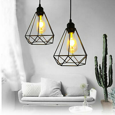 £7.99 • Buy Metal Pendant Light Shade Ceiling Industrial Geometric Wire Cage Lampshade Lamp