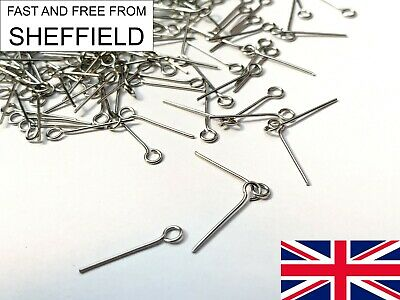 £1.99 • Buy 16mm Eye Pins 100 Pcs Antique Silver Colour Jewellery Making Findings Craft Bead