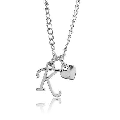 £2 • Buy Personalised Silver Plated Scroll 3d Heart Letter Alphabet A-Z  Necklace 18