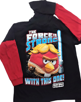 £6.44 • Buy Angry Birds Star Wars Pullover Hoodie Sweat Shirt Size 8 Youth Black Red Fifth