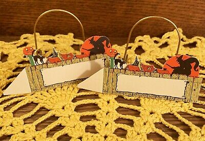 $ CDN15.62 • Buy 2 RARE UNused Vintage Halloween Placecards, Diecut Decorations, Witch Over Town!