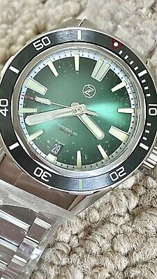 £300 • Buy Zelos Swordfish 40 Kermit Green Dial Black Automatic Divers Watch Submariner