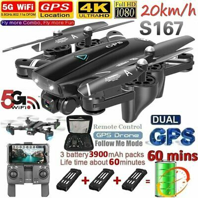 AU171.39 • Buy 4K GPS WIFI Drone With HD Camera Foldable Selfie RC Drones X Pro FPV Quadcopter