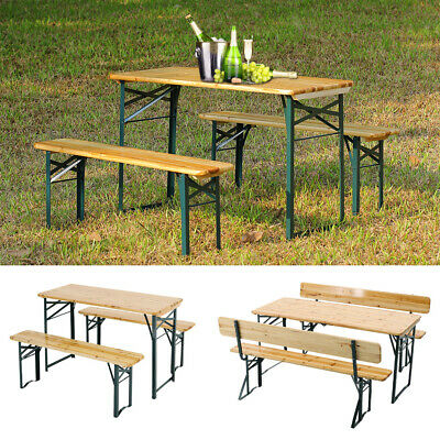 £219.95 • Buy Folding BBQ Camping Picnic Table Bench Set Outdoor Garden 4-8 Seater Wood Chairs