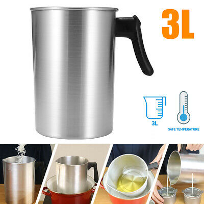 £10.99 • Buy 3L Wax Melting Pot Pouring Pitcher Jug Aluminium Candle Soap Make Thermometer
