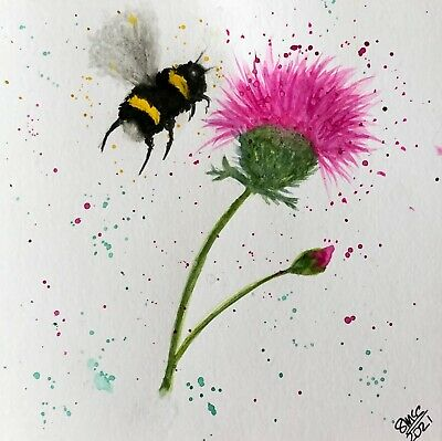 £2.75 • Buy Original Hand Painted Watercolour Greetings Card, Blank.  'Thistle And Bee'