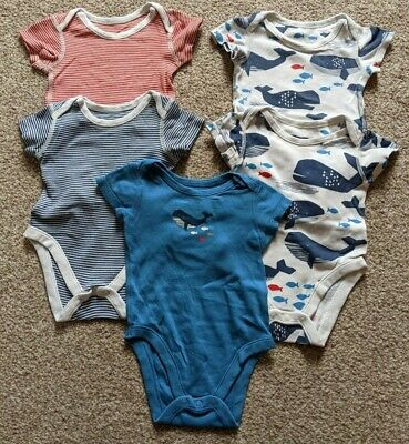 £3.50 • Buy Marks And Spencer 5 Pack Short-sleeved Baby Vests, 3-6 Months, Striped/whale Pri