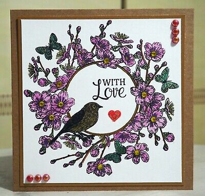 £3.49 • Buy Bird & Butterfly Garland,  Wreath Stamp - Large Stamp