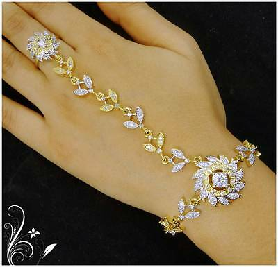 £16.32 • Buy Indian Women Bridal Bracelet Attach With Ring Gold Plated Jewelry Zircon Wedding