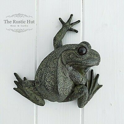 £13.95 • Buy Wall Fence Hanging, Climbing Garden Frog Resin Ornament, Flat Rear With Keyhole
