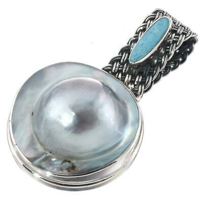 $37.95 • Buy 1 5/8  GENUINE OPAL BLISTER MABE PEARL 925 STERLING SILVER Pendant