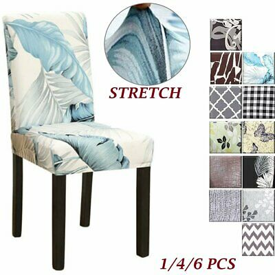 AU22.99 • Buy 4/6Pcs Dining Chair Covers Fit Stretch Universal Washable Chair Seat Slipcovers